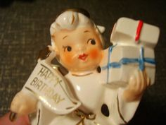Vtg-Lefton-Napco-Japan-Ceramic-Happy-Birthday-Angel-Candle-Holder-Figurine-EXC