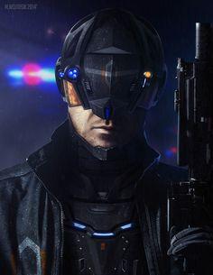 Cyberpunk Police Officer, Milosz Wojtasik on ArtStation at https://www.artstation.com/artwork/cyberpunk-police-officer