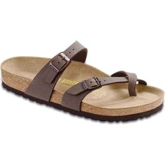 Birkenstock Women's Mayari Mocha Birkibuc Slide Sandals ($95) ❤ liked on Polyvore featuring shoes, sandals, brown, shock absorbing shoes, birkenstock sandals, cross strap sandals, flexible shoes and nubuck sandals