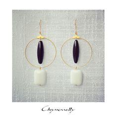 JEWELRY | Chryssomally || Art & Fashion Designer - Minimal geometric gold earrings with black and white gemstones