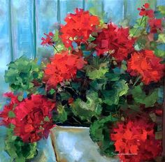 Garden Covenant Red Geraniums by Nancy Medina
