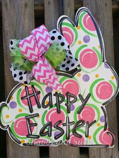 HAPPY EASTER Bunny Rabbit Door Hanger Large Handpainted Wood Door Decor on Etsy, $40.00  PINNED FOR SHADING LETTERS IDEA...