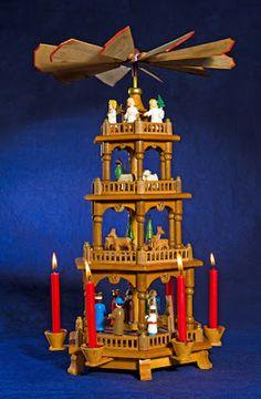Schwibbogen, Christmas Pyramid, and Angel Chimes German Christmas Decorations, Vintage Christmas Lights, Christmas Art, Childhood Memories, Birthday Candles, Angel, Kwanzaa, Hanukkah, Traditional Ideas