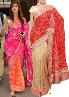 Half and half saree in beige and bandhani red adorn in lace border only on Kalki