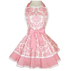 Custom Listing For Nina.Pink Damask Print Womans Retro Apron With Tiered Skirt… Pink Apron, Retro Apron, Aprons Vintage, White Apron, Pink Damask, Cute Aprons, Sewing Aprons, Creation Couture, Look Vintage