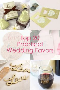 Find the best pracical favors for your wedding! From personalized wine glasses to bottle openers, we've got you covered.