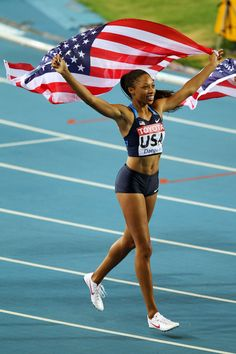 Alyson Felix representing #teamUSA .... I could watch her run all day!!