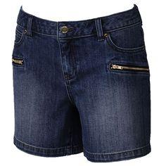 Women's Jennifer Lopez Zipper-Pocket Jean Shorts, Dark Blue