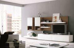 Muebles de Salón blanco con base en madera- Zb muebles Zaragoza