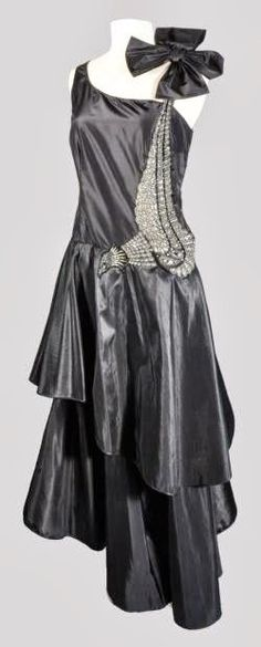 ~Lanvin 'Peacock' Dress - 1928-29 - by Jeanne Lanvin - Silk taffeta embroidered, glass beads~
