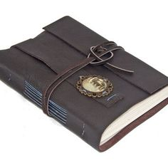 Dark Brown Leather Journal with Old World Cameo Bookmark - Ready to ship -