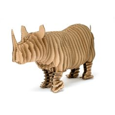 Edward Junior - cardboard rhinoceros figure - 3D Puzzle DIY Kit Paper recycled animal sculpture decor Gift Diy kit