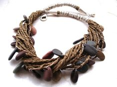 authentic beach stone and paper string necklace: StoneAlone Paper Jewelry, Textile Jewelry, Fabric Jewelry, Tribal Jewelry, Jewelry Art, Fashion Jewelry, Tribal Necklace, Stone Beads, Stone Jewelry