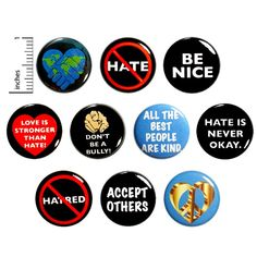 Kindness No Hate Buttons No Bullying Positive Pins for Backpacks Peace and Love Not Hate 10 Pack Gift Set 1 Inch Funny Buttons, Cool Buttons, Work Jokes, Work Humor, I Love Bees, Work Gifts, Anti Bullying, Cute Pins, Pin Badges