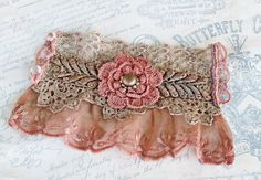 Heirloom Lace Bracelet Coral Vintage Lace Wrist by LaVieilleLune
