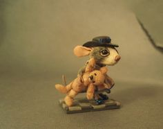 Aleah Klay Studio: Miniature Mouse sculpture with teddy bear one of a...