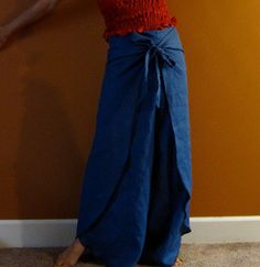 linen butterfly flare wrap around pants by annyschooecoclothing