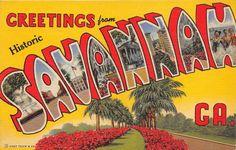 Large Letter Greetings From GA Georgia Savannah 3B-H1107 Linen Postcard | eBay