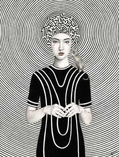 Illustratie van Sofia Bonati. Een interessante combinatie van diverse patronen en gebruik van de patronen in een illustratie.