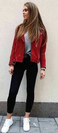 cool outfit _ red biker jacket + top + black skinnies + sneakers
