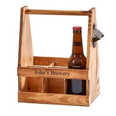 "A fun bar accent and great way to carry bottled beverages in style with this wooden 6 bottle caddy. Caddy is 11.25"" x 9"" x 6"" and has a rustic metal bottle opener attached to the side. Choice of typestyle. Laser engraved personalization will appear in color as shown. Positioning only as shown."