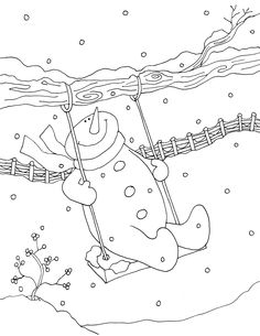 Coloring pages swing snowman s kids Cross Stitch Embroidery, Hand Embroidery, Embroidery Designs, Machine Embroidery, Punch Needle Patterns, Applique Patterns, Colouring Pages, Coloring Books, Christmas Coloring Pages