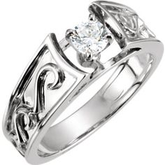 14kt White 4.1mm Round Engagement Ring Mounting