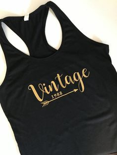 Women's Ladies Vintage Birthday Racerback Tank -Customized Racer Back Tank Top w/ Birthday Year - 30th 40th 50th Birthday Gift - Many Colors