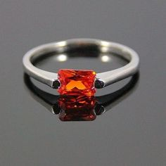 Engagement/Promise Ring, Ruby, 0.88Ct, 18K White Gold Filled, Size 7.5, USA, #silvestri #Solitaire