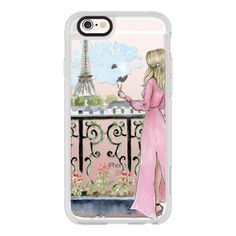 Paris Girl -Blonde- Eiffel Tower- Fashion Illustration- Champagne- -... ($40) ❤ liked on Polyvore featuring accessories, tech accessories, iphone case, iphone hard case, iphone cases, apple iphone cases and iphone cover case