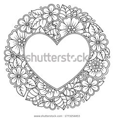 Circular pattern in form of mandala with frame in shape of heart. Decorative ornament in ethnic oriental mehndi style. Outline doodle hand draw vector illustration. Antistress coloring book page. Heart Coloring Pages, Colouring Pages, Coloring Books, Draw Vector, Trippy Drawings, Mehndi Style, Decorative Borders, Circular Pattern, Artwork Ideas