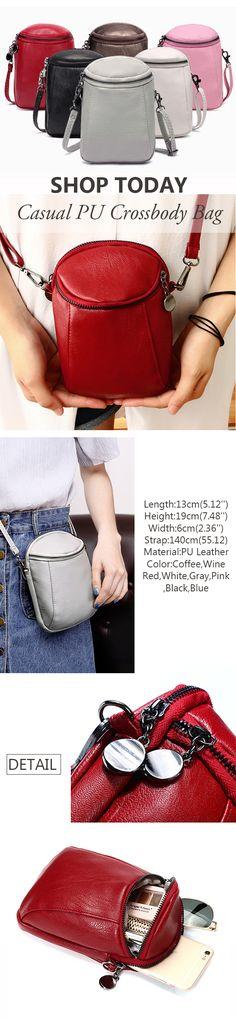 US$9.87 Woman Round Little Phone Bag Casual PU Crossbody Bag Bucket Bag Vintage Bag