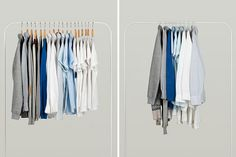 ivan zhang of a'postrophe design has designed a multi-functional device called 'inside out hanger' to save space in the everyday closet.