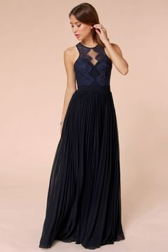 c687b7c4d5cf Bariano Luciana Navy Blue Lace Maxi Dress