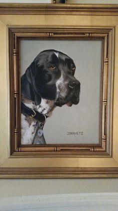 Oil on canvas Hound by Jacqueline Dravetz