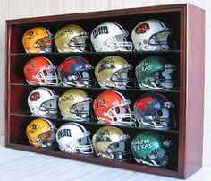 12 Scale Replica Mini Football Helmet Display Case Cabinet Wall Rack wUV Protection Door  MH01BMA ** Click on the image for additional details.