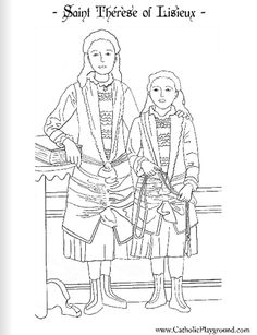 Saint Therese of Lisieux with her sister Celine Catholic coloring page: Feast day October 1st-