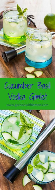 Cucumber Basil Vodka Gimlet Recipe- Cool off after a hot summer day with a refreshing Cucumber Basil Vodka Gimlet!