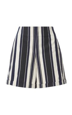 This Zeus + Dione Petra Striped Shorts features a striped raw silk print with high waist fit and loom trim detail. Silk Shorts, Striped Shorts, Blue Shorts, Printed Shorts, Patterned Shorts, High Rise Shorts, High Waisted Shorts, Gym Shorts Womens, Petra
