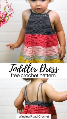 Crochet this beautiful toddler dress. Available in 3 sizes. Free crochet pattern by Winding Road Crochet. Crochet Toddler Dress - This dress has so many beautiful details on a simple base. Free crochet pattern by Winding Road Crochet. Crochet Girls Dress Pattern, Crochet Toddler Dress, Toddler Dress Patterns, Baby Girl Crochet, Crochet Baby Clothes, Toddler Knitting Patterns Free, Crochet Baby Dress Free Pattern, Crochet Outfits, Crochet Dresses