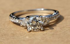 226 carats  Round Diamond Engagement Ring  Solid by BeautifulPetra, $14750.00