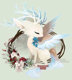 Cute Fantasy Creatures, Mythical Creatures Art, Mythological Creatures, Cute Animal Drawings, Cute Drawings, Anime Wolf Drawing, Cute Kawaii Animals, Dragons, Cute Pokemon Wallpaper