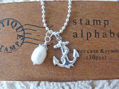 beachcomber nautical anchor pearl necklace