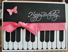 Piano -- keys made with Stampin' Up word window punch