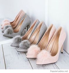 Nude and grey high heels with fur