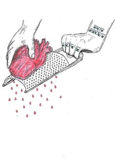 not about love illustration Broken Heart Drawings, Broken Heart Art, Sad Drawings, Dark Art Drawings, Drawings About Love, Art About Love, Art Triste, Sad Paintings, Illustration Tattoo