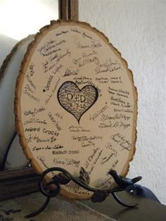 wood tree slice guestbook