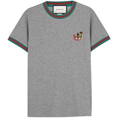 Womens T-Shirts Gucci Grey Butterfly Cotton T-shirt ($380) ❤ liked on Polyvore featuring tops, t-shirts, embroidered t shirts, striped tee, stripe tee, gray tee and gucci t shirt