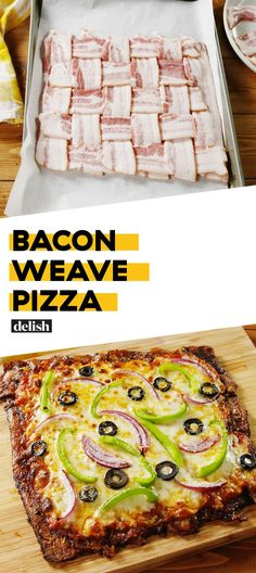 Keto This Bacon Weave Pizza Has The Most Epic CrustDelish Keto Foods, Ketogenic Recipes, Low Carb Recipes, Diet Recipes, Cooking Recipes, Bacon Recipes Healthy, Bacon Dinner Recipes, Ketogenic Diet, Diet Desserts