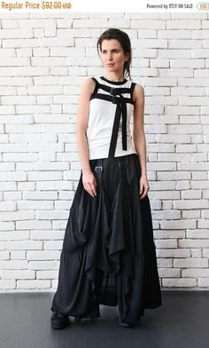 SALE NEW Long Maxi Skirt/Extravagant Asymmetric Skirt with Front Accent/Long Loose Black Skirt/Black Cotton Skirt/Black Maxi Skirt/Oversize